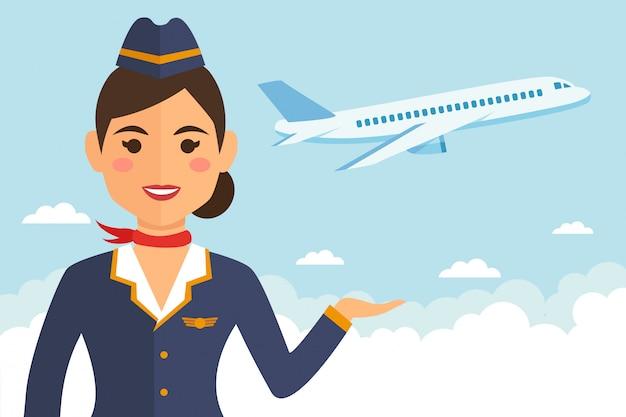 Stewardessvrouw in eenvormig met aarde en vliegtuig Premium Vector