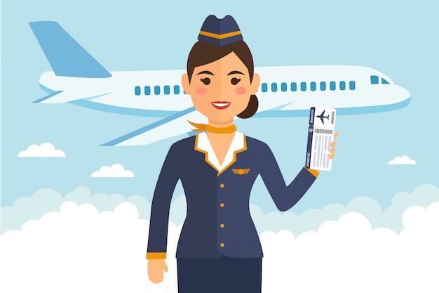 Stewardessvrouw in eenvormig met vluchtkaartjes Premium Vector