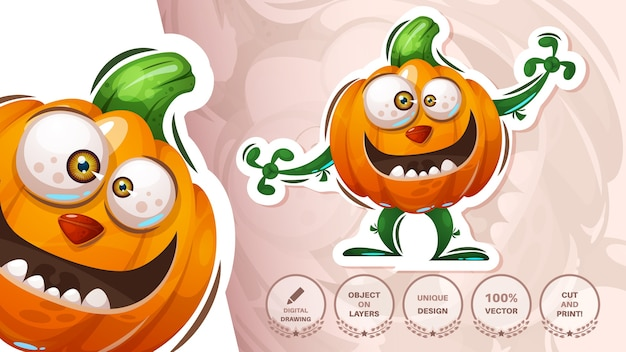 Sticker halloween pompoen - horror illustratie Gratis Vector