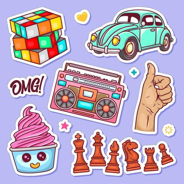 Sticker hand getrokken doodle kleuren vector Gratis Vector