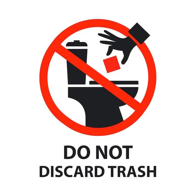 Sticker is verboden om afval in het toilet te gooien. verstopt toilet. Premium Vector