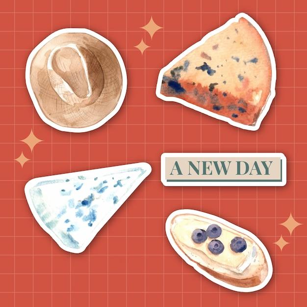 Sticker met europese picknick conceptontwerp voor pictogram en logo aquarel illustratie. Gratis Vector