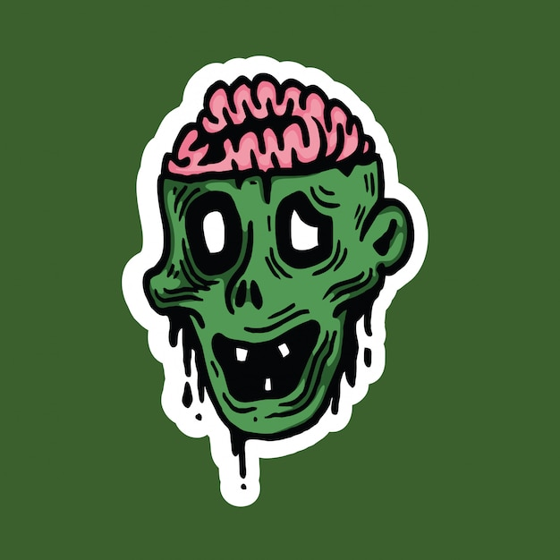 Sticker met halloween van het zombie de hoofdkarakter Premium Vector