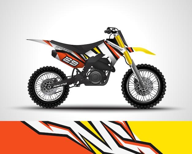 Sticker met motorcross wrap en vinyl sticker Premium Vector