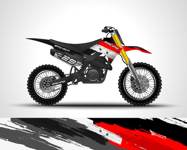 Sticker met motorcross wrap en vinyl sticker Premium Vector