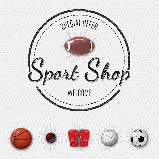 Sticker met sportwinkel Premium Vector