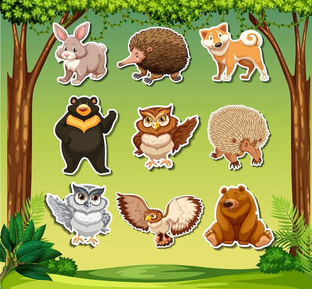 Sticker met wild diertjes tehmplate Gratis Vector