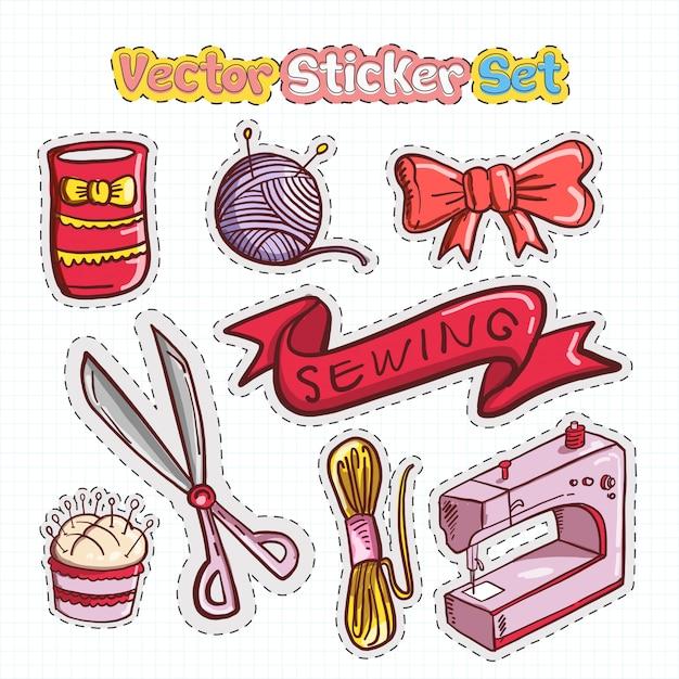 Sticker patches set van naaien-pictogram Premium Vector