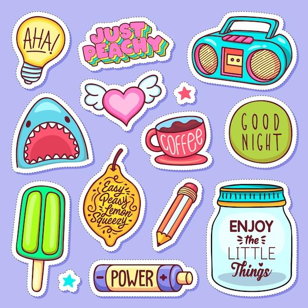 Sticker pictogrammen hand getrokken doodle Gratis Vector