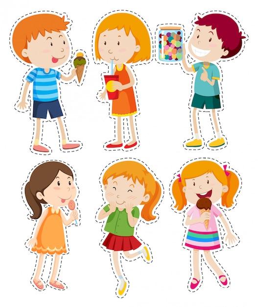 Sticker set van jongens en meisjes Gratis Vector