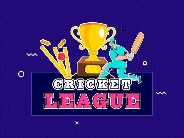 Sticker stijl cricket league-tekst met batsman-karakter, bal die wicket en trophy cup op blauwe achtergrond raakt. Premium Vector
