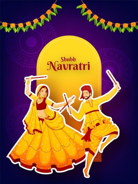Sticker stijl karakter van paar dansen met dandiya stok Premium Vector