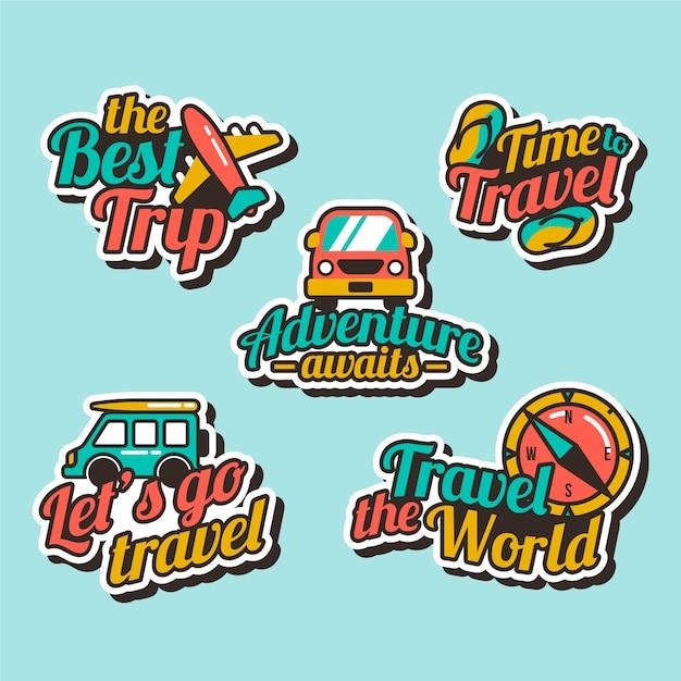 Stickercollectie in jaren 70-stijl voor op reis Gratis Vector