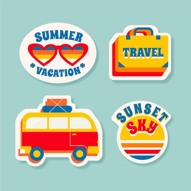 Stickercollectie reizen / vakanties in jaren 70-stijl Gratis Vector
