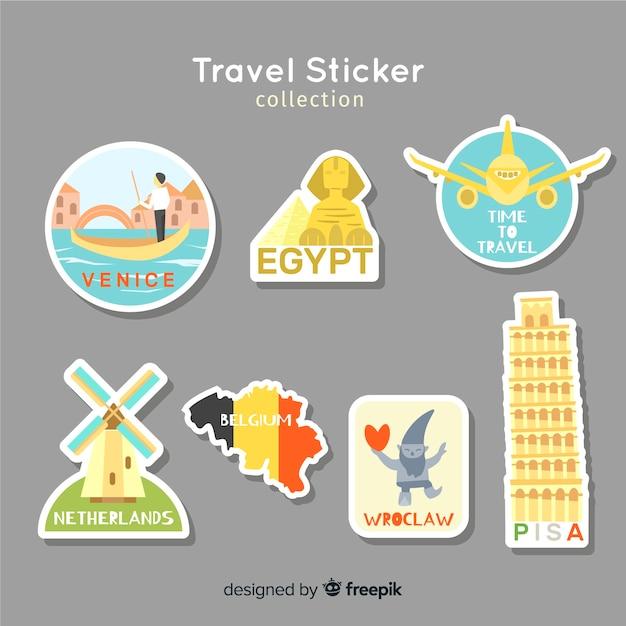 Stickercollectie reizen Gratis Vector
