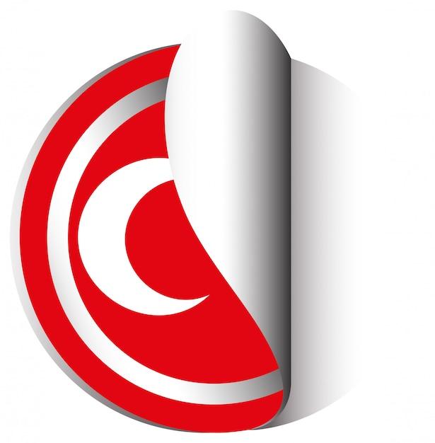 Stickerontwerp voor vlag van turkije Gratis Vector