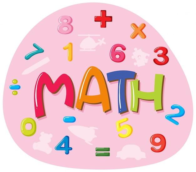 Stickerontwerp voor woord wiskunde Gratis Vector