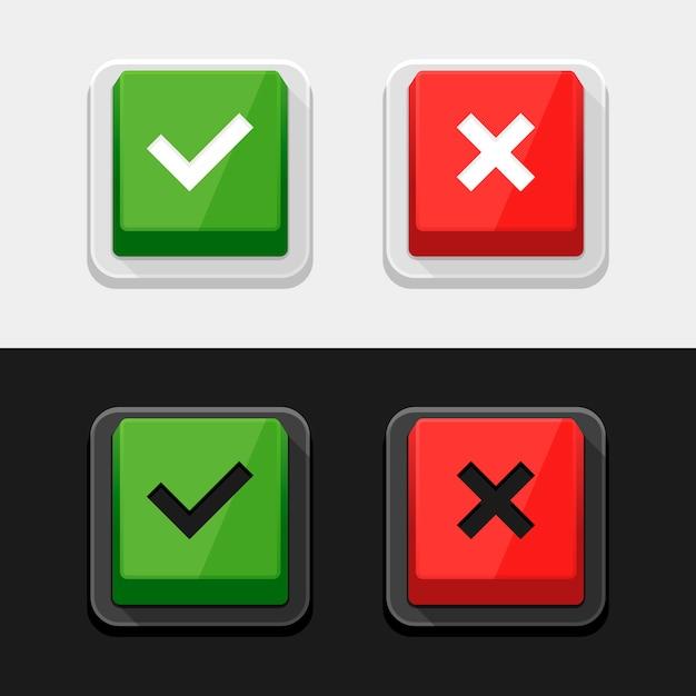 Stickers en knoppen voor vinkjes. Premium Vector