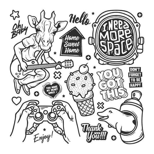 Stickers hand getrokken doodle Gratis Vector