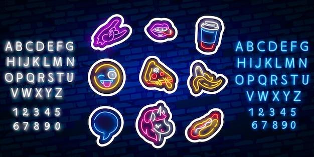 Stickers met neon effect en neon alfabet lettertype typografie Premium Vector