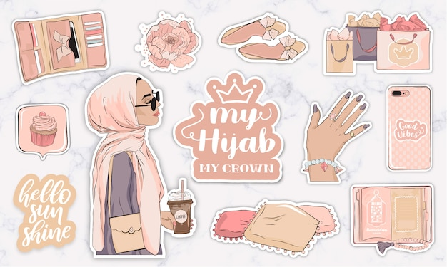 Stickers met voorwerpen en een moderne jonge moslimvrouw die een hijab draagt Premium Vector