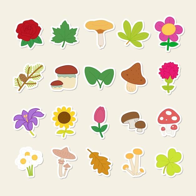 Stickers set van schattige planten en paddestoelen. Premium Vector