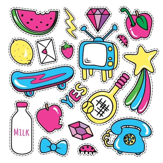 Stickerscollecties in pop-artstijl Premium Vector