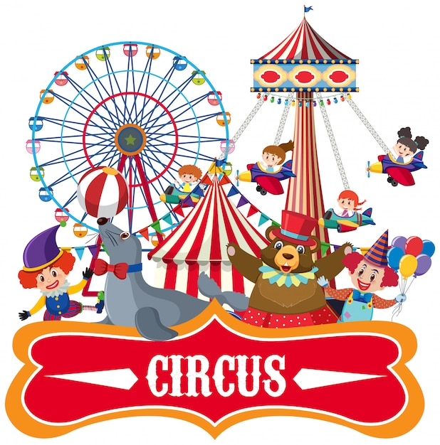 Stickersjabloon voor circus met veel dieren Premium Vector