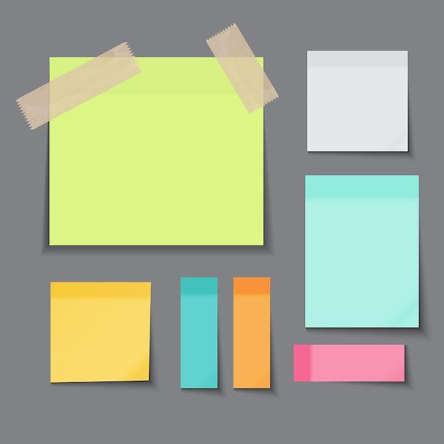 Sticky paper note verschillende kleurencollectie Premium Vector