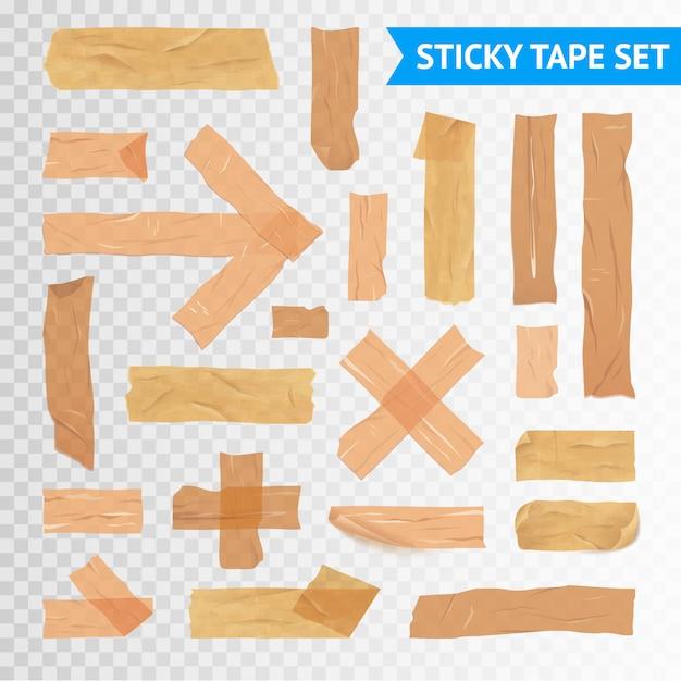 Stickytape strips set Gratis Vector