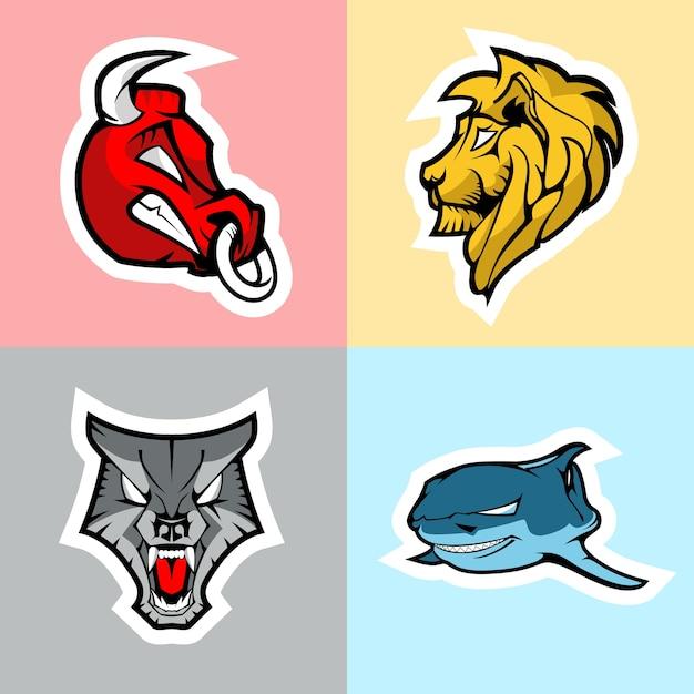 Stier, leeuw, wolf en haai. logo set. Premium Vector