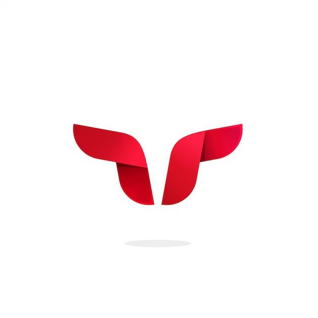 Stier of buffelhoorns logotype sjabloon geometrische Premium Vector