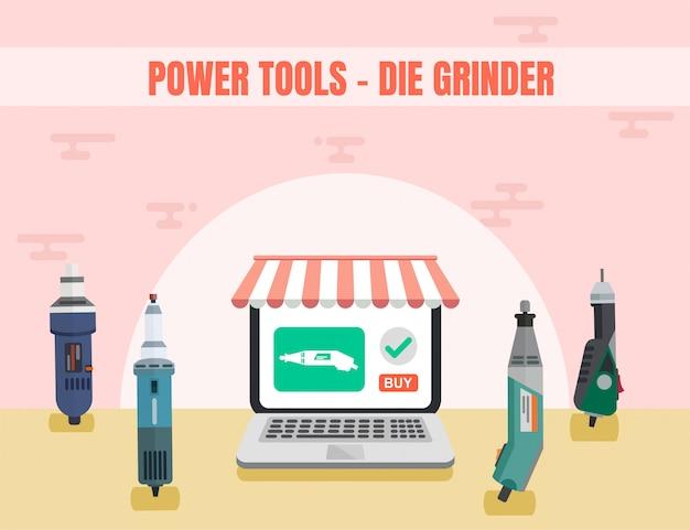 Stiftslijper assortiment power tool online ad Premium Vector