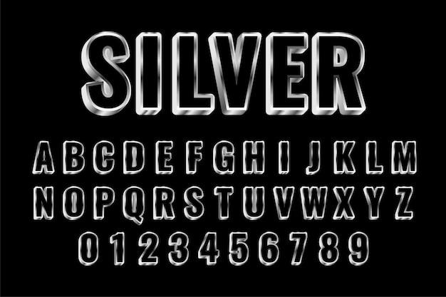 Stijl zilveren alfabetten teksteffect instellen Gratis Vector