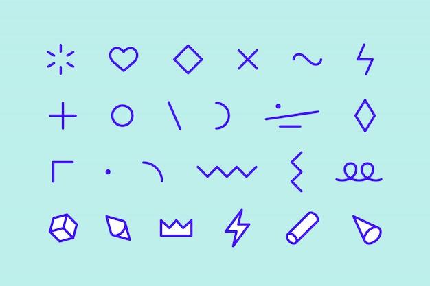 Stijlelementen. set memphis elementen, lijn grafisch ontwerp, sjabloon voor patroon, lijnafbeelding, webdesign. kleurrijke collectie geometrische afbeelding. illustratie Premium Vector