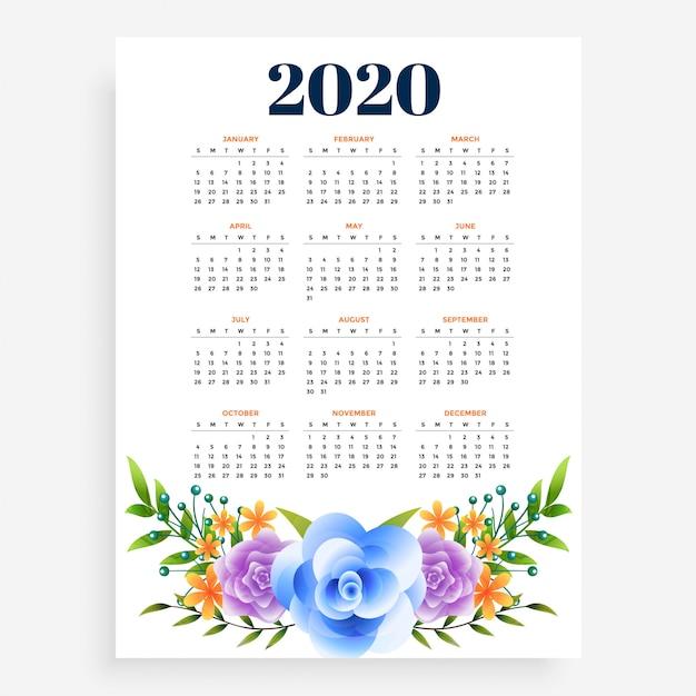 Stijlvol 2020 nieuwjaar verticale bloem sjabloonontwerp Gratis Vector