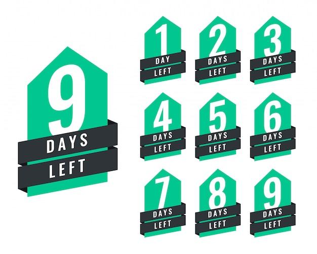 Stijlvol aantal resterende dagen van verkoop en promotie Gratis Vector