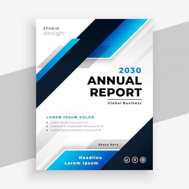 Stijlvol jaarverslag blauwe zakelijke brochure sjabloonontwerp Gratis Vector