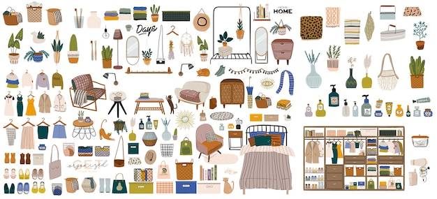 Stijlvol scandinavisch slaapkamerinterieur - bed, bank, kledingkast, spiegel, plant, lamp, huisdecoraties. Premium Vector