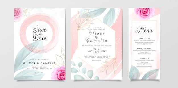 Stijlvolle bruiloft uitnodiging kaartsjabloon ingesteld met waterverf en bloemen decoratie Premium Vector