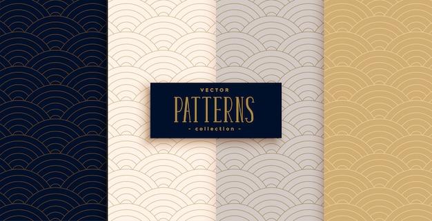 Stijlvolle chinese traditionele kromme lijnen patroon set Gratis Vector