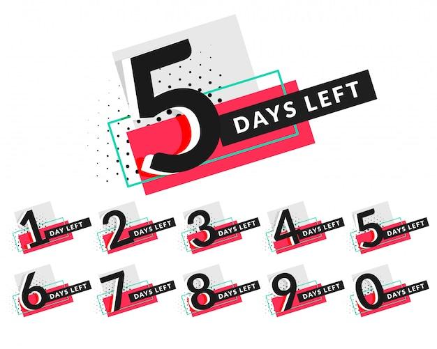 Stijlvolle dagen countdown timer ontwerp Gratis Vector
