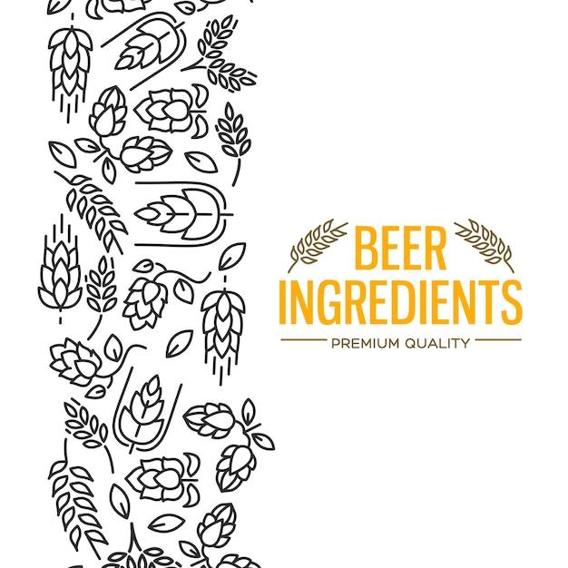 Stijlvolle designkaart met afbeeldingen links van de gele tekst bier ingrediënten van bloemen, takje hop, bloesem, mout Gratis Vector