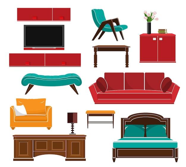 Stijlvolle eenvoudige meubels iconen set: bank, tafel, fauteuil, stoel, kast, bed. illustratie. Premium Vector