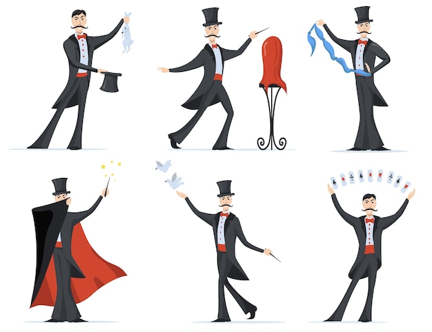 Stijlvolle goochelaar met goocheltrucs platte set Gratis Vector