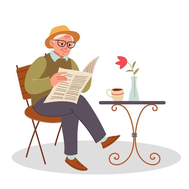Stijlvolle grootvader drinkt koffie op straat en leest een krant. senior zittend op een stoel en het lezen van een krant. vector illustratie plat ontwerp Premium Vector