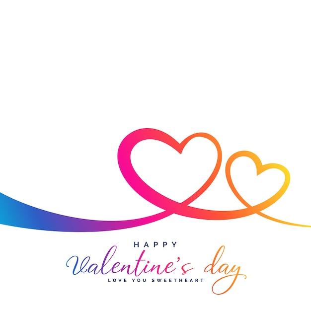 Stijlvolle kleurrijke levendige twee harten voor valentijnsdag Gratis Vector
