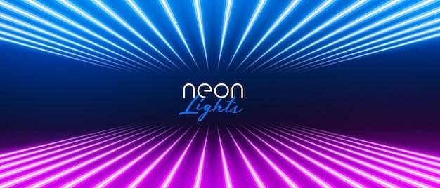 Stijlvolle neonlichtlijnen in perspectief in blauwe en paarse kleur Gratis Vector