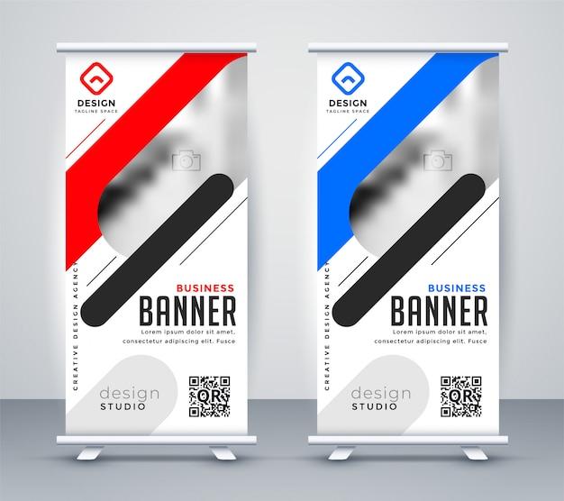 Stijlvolle oprolbare presentatie presentatie banner in moderne stijl Gratis Vector