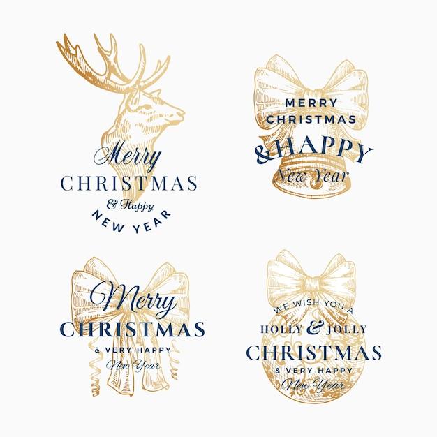 Stijlvolle prettige kerstdagen en gelukkig nieuwjaar abstracte tekens, etiketten of logo sjablonen set. Gratis Vector